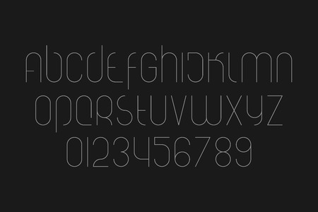 numerical code: set of stylized alphabet letters and numbers isolated on black background.  Illustration