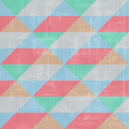 seamless pattern with abstract, geometric, colorful ornament over old paper texture. vector retro background design Illustration