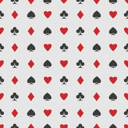 clubs diamonds: seamless pattern of playing card suits on white. vector background design. hearts, spades, diamonds and clubs symbol. casino and poker rooms wallpaper