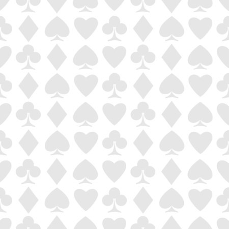 seamless pattern of playing card suits on white. Illustration