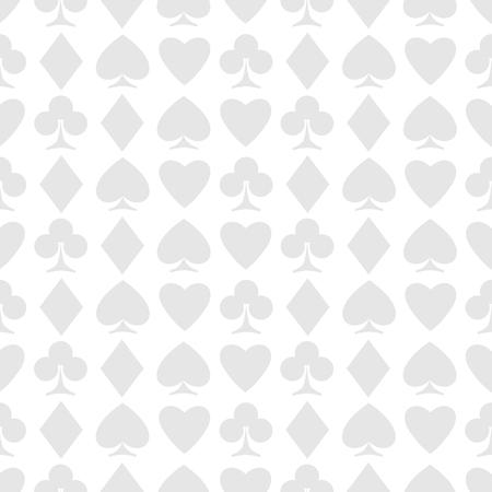 seamless pattern of playing card suits on white. Illusztráció