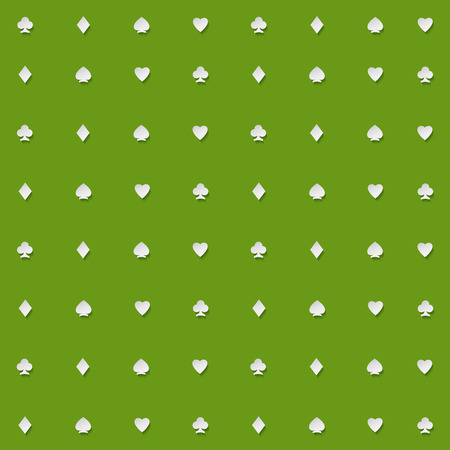 card suits symbol: seamless pattern of playing card suits on green backdrop. vector background design. hearts, spades, diamonds and clubs symbol. casino and poker rooms wallpaper