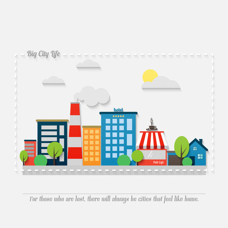 asphalt road: cartoon style cityscape with modern architecture, office buildings, hotel, market, park, coffee house and asphalt road. vector colorful illustration. big city life banner concept