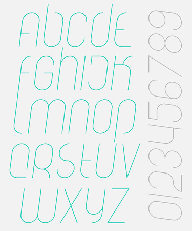 numerical code: set of stylish, isolated alphabet letters and numbers. vector contemporary, italic font type. premium quality, modern, slanted typeface design Illustration