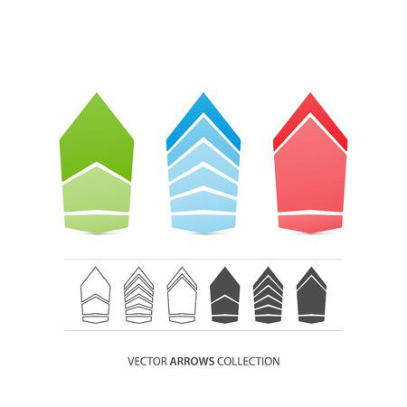 arrowheads: set of stylish, isolated arrow icons. vector arrows logo design. abstract arrowheads and pointers symbols