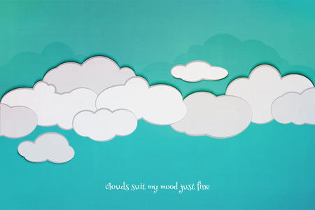textured paper: cartoon style cloudscape and blue sky over textured paper. vector poster design. environment and weather concept