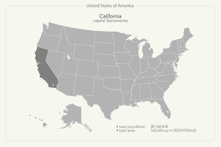 california state: United States of America isolated map and California state territory. vector USA political map. geographic banner template