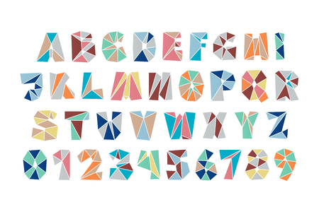 diamond letters: set of isolated fractal style, polygonal alphabet letters and numbers. vector, diamond font type icons. colorful mosaic lettering typeface