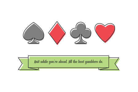 card suits symbol: set of thin line playing card suits isolated on white background. vector banner design. hearts, spades, diamonds and clubs symbol. casino and poker rooms icons. addiction concept