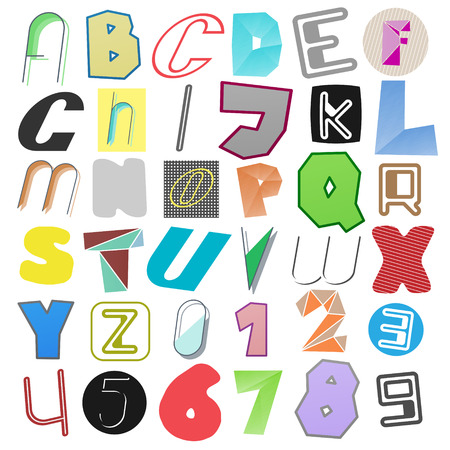 secret number: new set of isolated, anonymous style alphabet letters and numbers. vector font type design. criminal language concept icons. secret code lettering Illustration