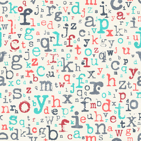 textile texture: abstract, seamless pattern with colorful alphabet letters ornament over paper texture. vector, retro style background. fashion, textile print with font type design. education concept wallpaper