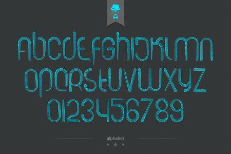 brocha de pintura: Conjunto de color azul las letras del alfabeto y números de estilo pincel sobre fondo oscuro. fuente vectorial de modelo tipo. colección de carácter moderno. plantilla de tipo de letra estilizado logotipo
