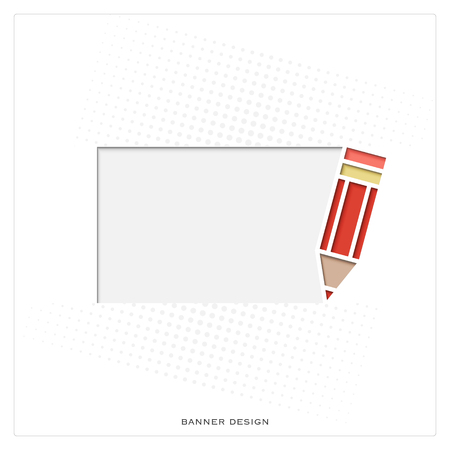 red pencil: new abstract frame with red pencil symbol and space for text. vector banner template. contemporary graphic design concept. white paper background