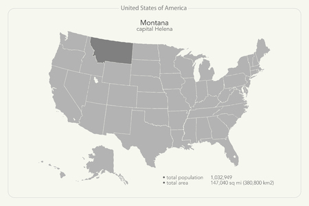 geographic: United States of America isolated map and Montana State territory. vector USA political map. geographic banner template Illustration