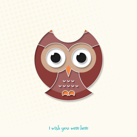 night bird: abstract, cartoon style owl icon isolated on white background. vector wisdom concept and knowledge symbol. cute owlet logo. night bird character design Illustration