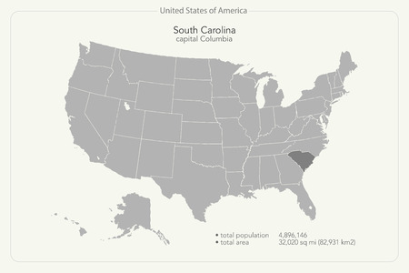 United States of America isolated map and South Carolina State territory. vector USA political maps. geographic banner template