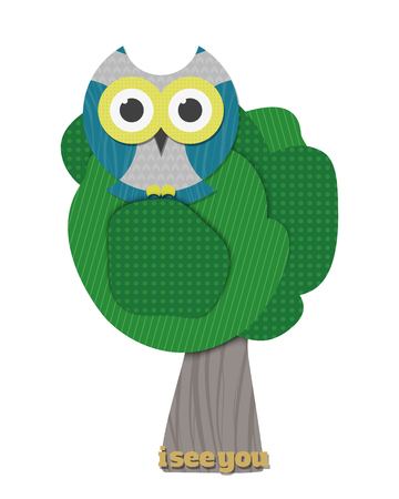 night bird: cartoon style illustration of cute owl sitting on the tree. vector paper sage character design. wildlife concept decorative elements. summer park oak and funny night bird