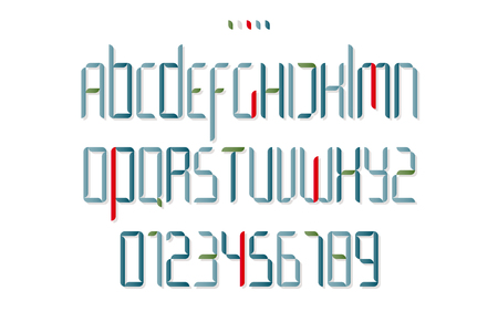 typesetting: set of isolated high style alphabet letters and numbers. vector font type design. modern, commercial lettering icons. stylized logo text typesetting