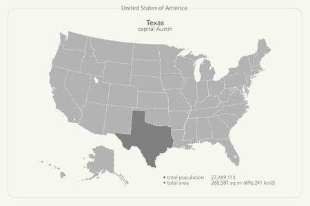 texas state: United States of America isolated map and Texas State territory. vector USA political map. geographic banner template Illustration