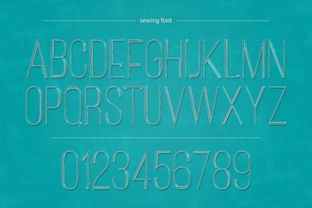 typesetting: set of thin thread alphabet letters and numbers on blue canvas texture. vector embroidery style font type design. fashion and handmade hobby concept typesetting. decorative needlework lettering