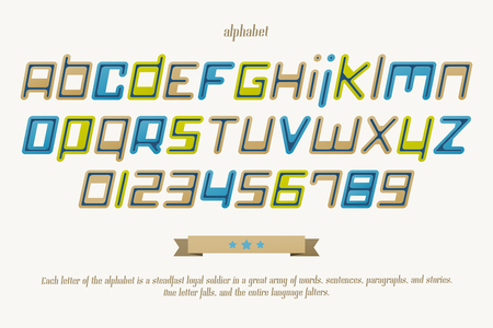 typesetting: set of isolated, slanted alphabet letters and numbers. vector font type design. modern, commercial lettering icons. stylized logo symbols and poster text typesetting