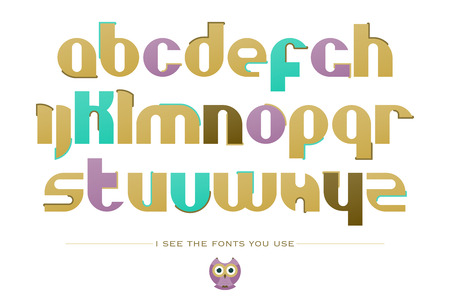 typesetting: set of stylized, alphabet letters isolated on white background. vector contemporary, bold font type. retro character design. cute owl logo typesetting collection