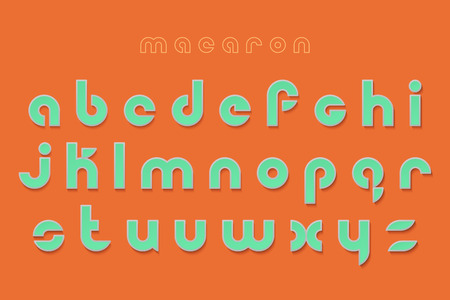 typesetting: new set of stylish, 3d effect alphabet letters isolated on orange background. vector contemporary font type collection. bold style, round typeface design. decorative typesetting template Illustration