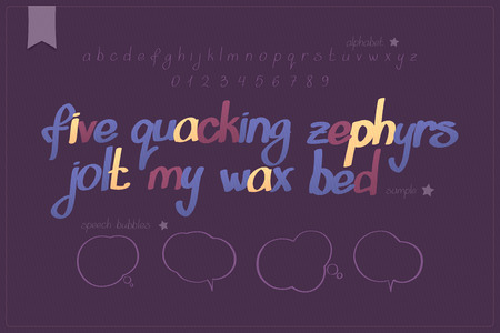 typesetting: set of calligraphic alphabet letters and numbers with speech bubbles. vector, handwritten font type design. creative poster hand drawn typesetting and speech balloon icons