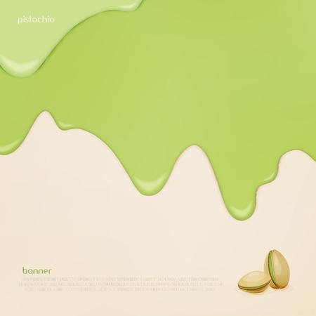 Nahaufnahme Natürliche Lebensmittel Hintergrund Design. Bäckerei Menü  Dekoration Mit Tropf Mutter Früchte Sahne Und Pistazien Symbol