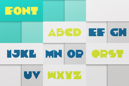 distinct: set of stylized, alphabet letters isolated on abstract background.