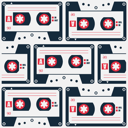 analogue: retro style cassette tape pattern. vector, 80s object symbol. 1980s music poster design. urban graffiti style wallpaper with analogue audio cassette Illustration
