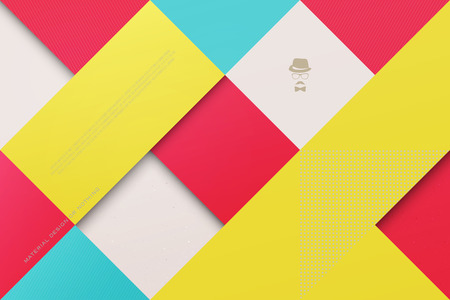paper material: abstract, colorful background with square frames. vector geometric, fashion wallpaper template. material design backdrop. origami style, vector, business cards layout