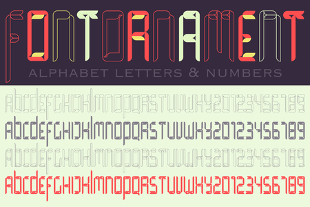 numerical code: set of isolated high, stylized alphabet letters and numbers.