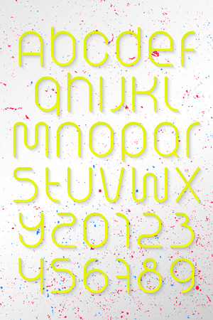 numerical code: set of round style alphabet letters and numbers over grunge background.