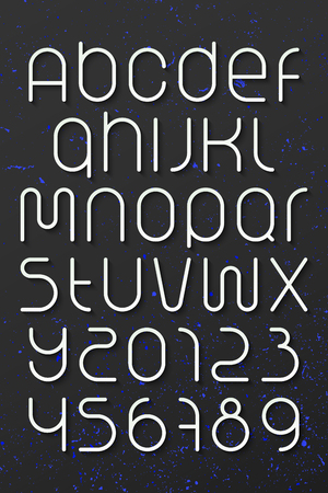 numerical code: set of round style alphabet letters and numbers over dark background.