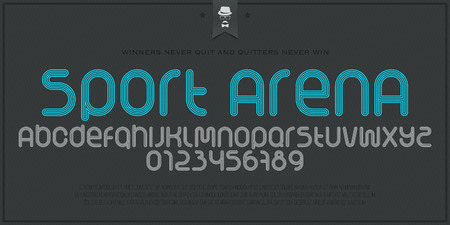 running track: set of sport style alphabet letters and numbers isolated on paper background. vector, dynamic stylized font type design. running track concept typesetting. athletic sports competition typeface Illustration