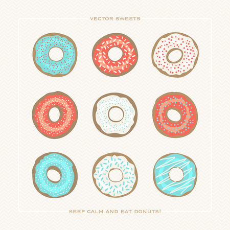 set of colorful donuts over paper background. vector glazed doughnut icons. cartoon style breakfast cake design. cafe decorative menu icons