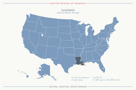 baton rouge: United States of America isolated map and Louisiana State territory. vector USA political map. geographic banner template
