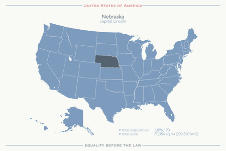 geographic: United States of America isolated map and Nebraska State territory. vector USA political map. geographic banner template