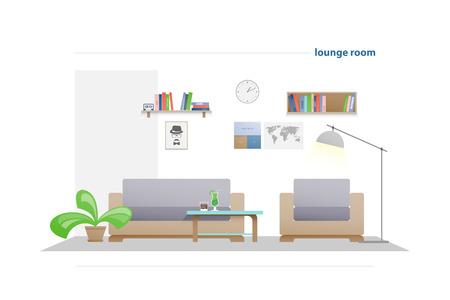 współczesny salon z meblami na białym tle. wektor, płaskie eleganckie wnętrze. relaksujący pokój dzienny ilustracja. koncepcja stylu życia, nowoczesna dekoracja mieszkania