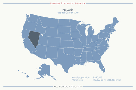 carson city: United States of America isolated map and Nevada State territory. vector USA political map. geographic banner template Illustration