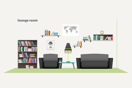 green carpet: contemporary living room with furniture isolated on white background.  flat style relaxing interior. stylish lounge room illustration. lifestyle concept, luxury apartment decoration