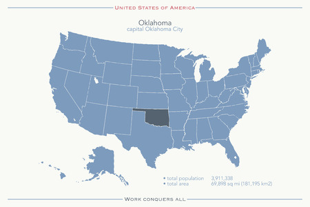 United States of America isolated map and Oklahoma State territory. USA political map. geographic template Stock Vector - 56461152