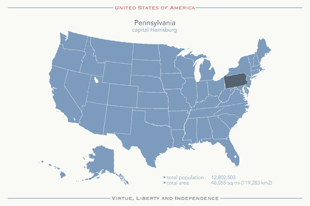 geographic: United States of America isolated map and Pennsylvania State territory. USA political maps. geographic template