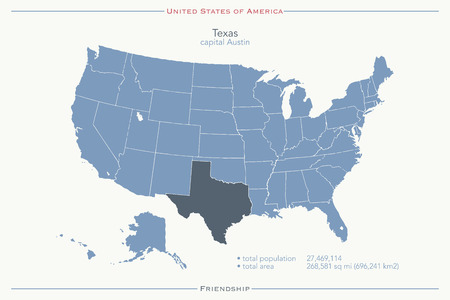 texas state: United States of America isolated map and Texas State territory. USA political map. geographic template