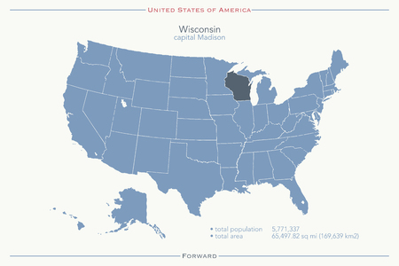 wisconsin state: United States of America isolated map and Wisconsin State territory. USA political map. geographic template