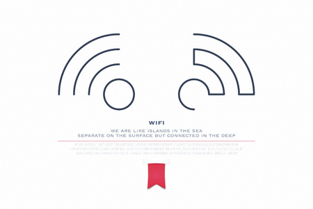 radio wave: two thin line style wireless icons and wifi . isolated, radio wave symbol. free internet connection zone sign. technology concept and banner template Illustration