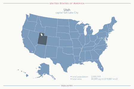 geographic: United States of America isolated map and Utah State territory. USA political map. geographic template