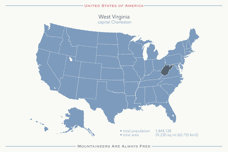 general: United States of America isolated map and West Virginia State territory. USA political map. geographic template