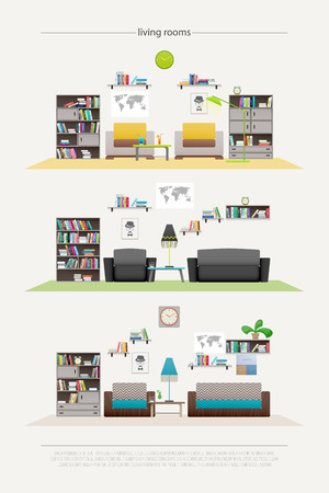 luxury apartment: set of contemporary lounge rooms with furniture isolated on white background. , flat style relaxing interior. elegant living room illustration. lifestyle concept, luxury apartment decoration